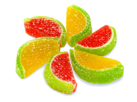 sugary: Colorful fruit sugary candies close-up Stock Photo