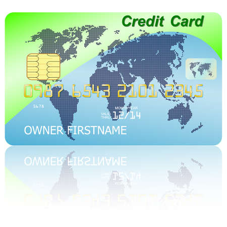 wite: Green credit card with shadow over wite background. Vector illustration