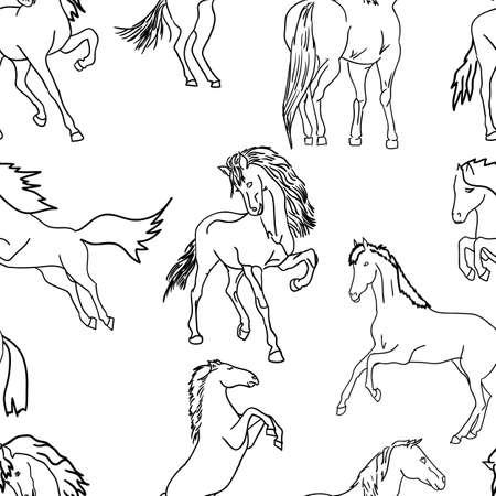 seamless wallpaper horses. Vector illustration Vector