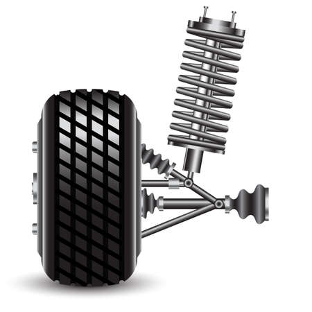 frontal: Front car suspension, frontal view  Vector Illustration