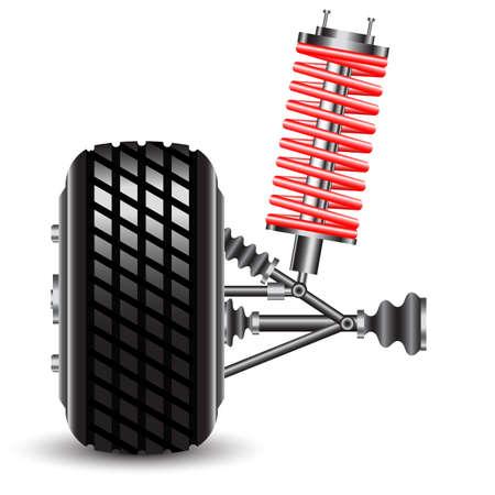repuestos de carros: La suspensión delantera de coches ilustración vectorial