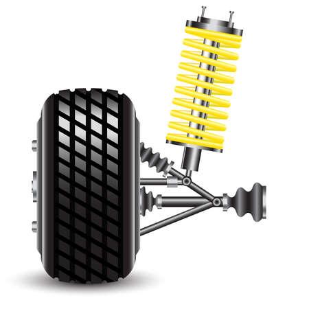 shocks: Front car suspension, frontal view  Vector Illustration