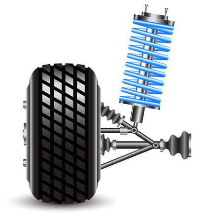 frontal view: car suspension, frontal view  Vector Illustration Illustration