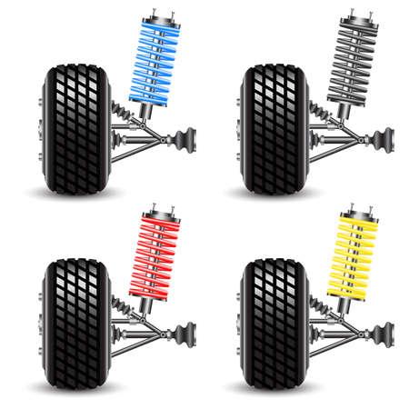 resortes: Establecer suspensi�n de coches, ilustraci�n vectorial vista frontal Vectores