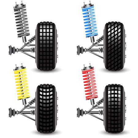 frenos: Establecer la suspensi�n delantera del coche, ilustraci�n vectorial vista frontal Vectores