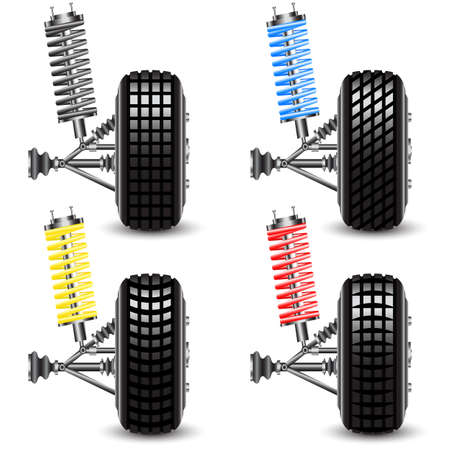 Set front car suspension, frontal view  Vector Illustration