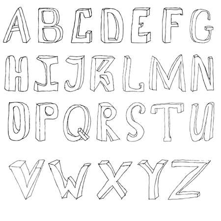 Hand drawing alphabet vector illustration set in black ink Vector