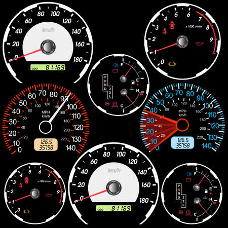 race car driver: Set of car speedometers for racing design   Illustration