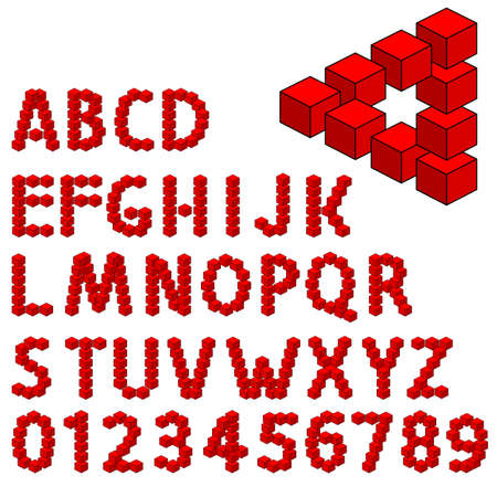 dimension: abstract optical illusion three dimension alphabet set  vector illustration