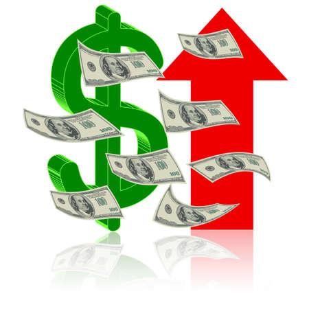 perdidas y ganancias: Altura Finanzas - D�lar sube s�mbolo de la flecha - s�mbolo de �xito Vectores