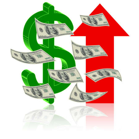 Height Finance - Dollar up arrow symbol - symbol of success Vector