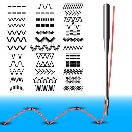 maquina de coser: Conjunto de aguja de coser puntadas de m�quina de coser con la ilustraci�n vectorial hilo