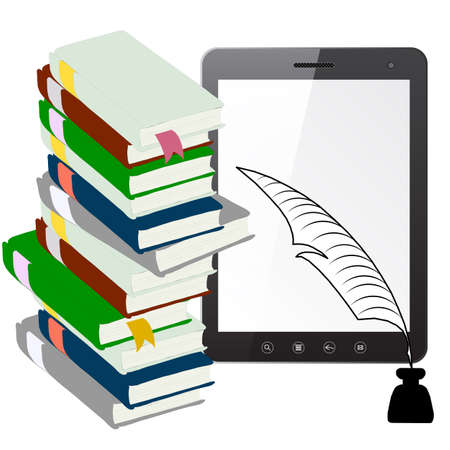 recent: Tablet PC computer with a pen and ink with books isolated on white background  Vector  illustration  Illustration
