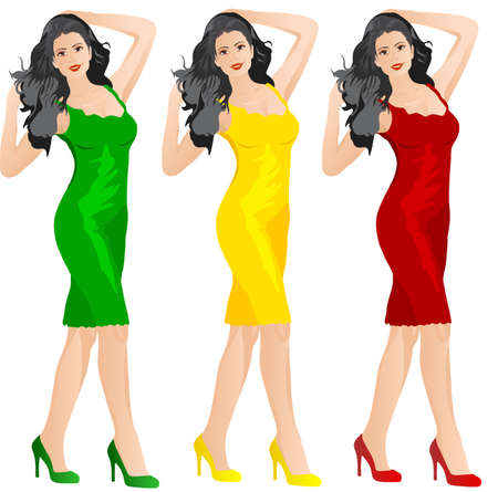 green dress: Beautiful woman in red yellow and green dress showing something-vector