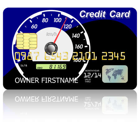 wite: Credit card  speedometer with shadow over wite background  Vector illustration