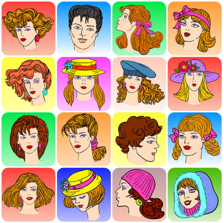 Set of various cartoon male and female faces, vector illustration Vector