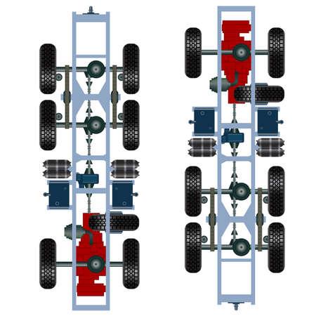 suspension: truck suspension, top view   Illustration