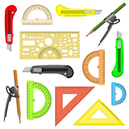 rulers: set of school instruments  Protractor, compass, protractor and a knife illustration
