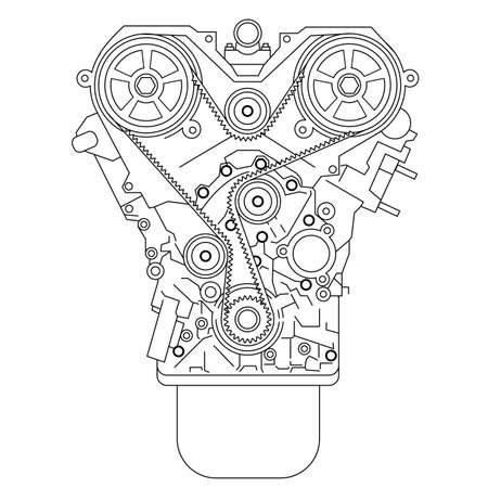 Internal combustion engine, as seen from in front  illustration  Vector