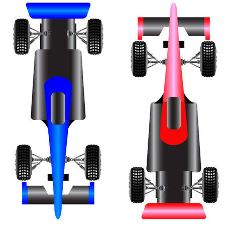 one vehicle: Sport car scheme top view illustration