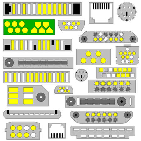 video, audio and telephone connectors Vector