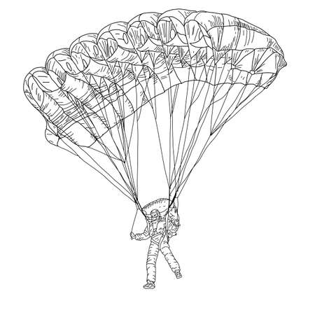 parachutist: jumper, black and white  illustration