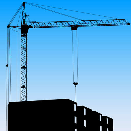 Silhouette of one cranes working on the building on a blue background Stock Vector - 14728994