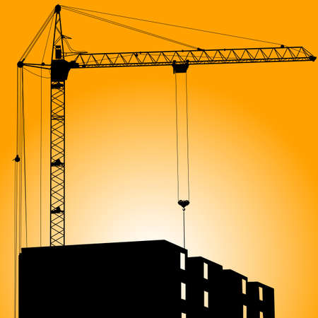 Silhouette of crane on a sunset on a building Vector