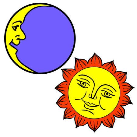 luna caricatura: Luna y el Sol con las caras