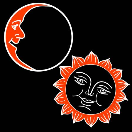 brightly: Moon and Sun with faces