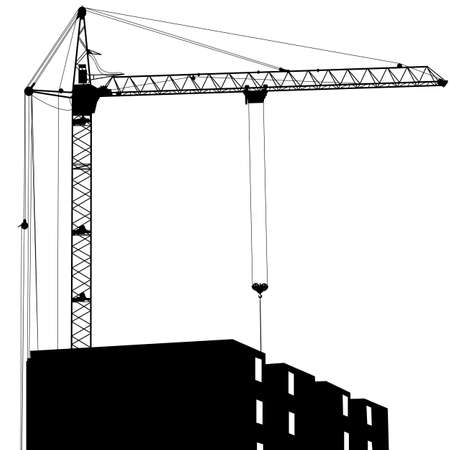 building activity: Silhouette of one cranes working on the building on a white background