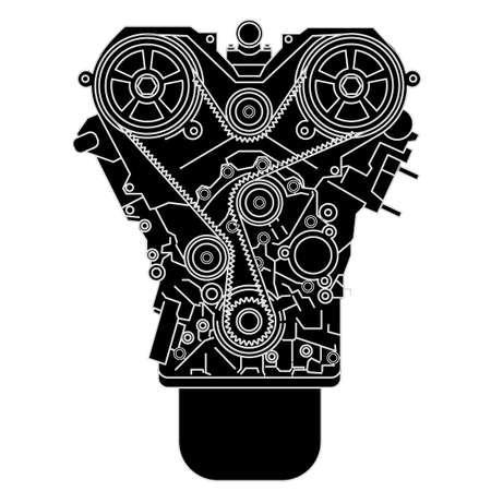 Moteur à combustion interne, comme on le voit à partir de Vector illustration avant