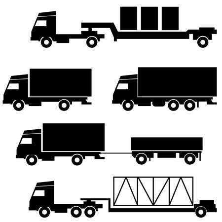 Set of icons - transportation symbols  Black on white Vector