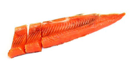 rout: Smoked red fish fillet over white Stock Photo