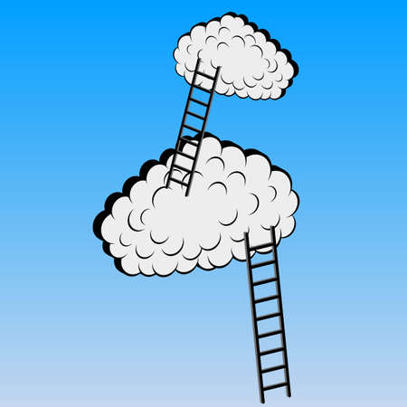Clouds with stairs, vector illustration Stock Vector - 15137730