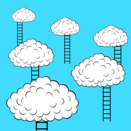 Clouds with stairs, vector illustration Stock Vector - 15137811