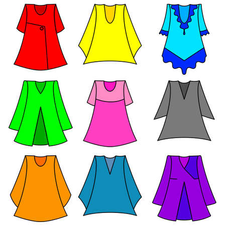 Vector set of fashionable  dresses for girl Vector