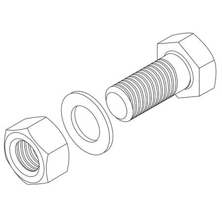 orzechów: Trzpień ze stali nierdzewnej oraz nakrętki. Ilustracji wektorowych.