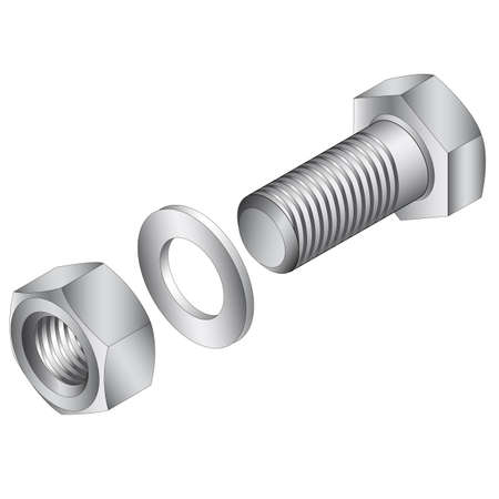 Stainless steel screw and nut. Vector illustration.