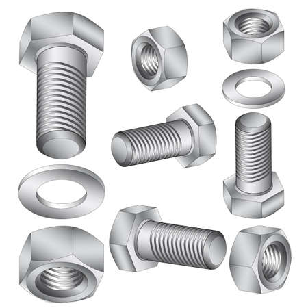 3d  bolt: Stainless steel bolt and nut. Vector illustration.