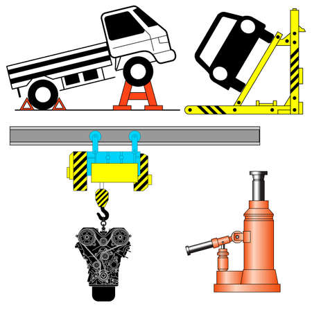 mounting: Set device for lifting a car repair. Vector illustration.