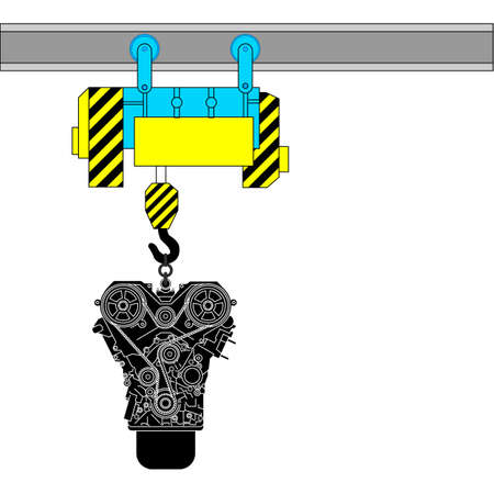 Device for lifting the engine for repair. Vector illustration. Vector