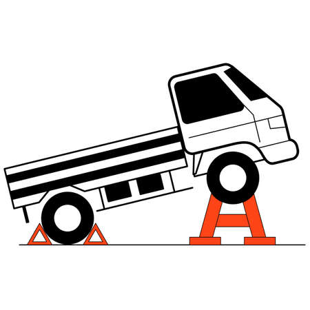 mounting: Device for lifting a car repair. Vector illustration.