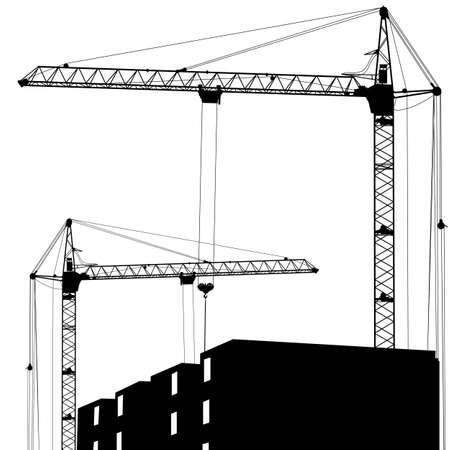 steel construction: Silhouette di due gru di lavoro sulla costruzione Vettoriali