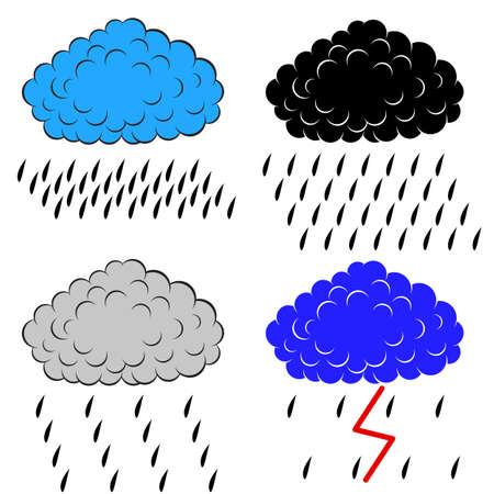 precipitacion: Nubes con la ilustraci�n vectorial precipitaci�n, Vectores