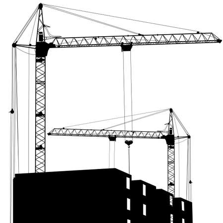 Silhouette of two cranes working on the building Stock Vector - 15137793