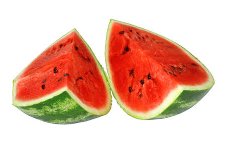 Fresh watermelon and slices isolated on a white background photo