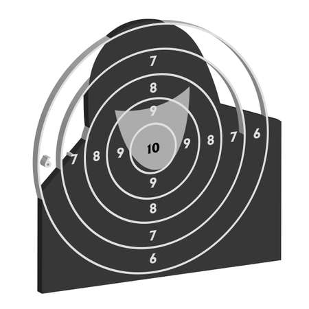 The target for shooting practice at a shooting range with a pistol Vector