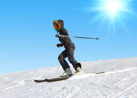 The young girl on skis goes from mountain in a spotty suit photo