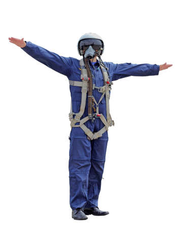 man dressed as a pilot on a white background photo